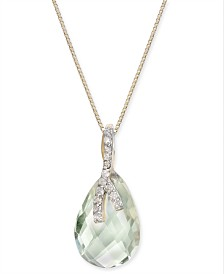 "Mint Quartz (4-5/8 ct. t.w.) & Diamond (1/10 ct. t.w.) 18"" Pendant Necklace in 14k Gold"