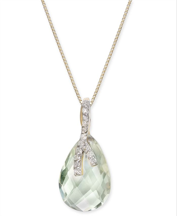 "Macy's - Mint Quartz (4-5/8 ct. t.w.) & Diamond (1/10 ct. t.w.) 18"" Pendant Necklace in 14k Gold"