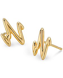 Sarah Chloe Heartbeat Stud Earrings in Sterling Silver or 14k Gold-Plate Over Sterling Silver