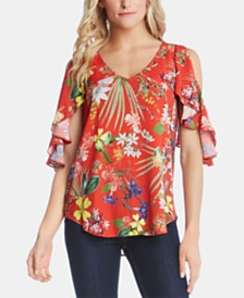 Karen Kane Printed Cold-Shoulder Flutter-Sleeve Top