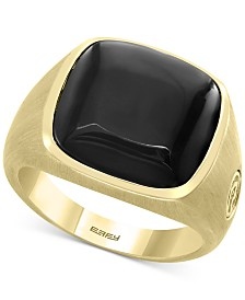 EFFY® Men's Black Agate Ring in 14k Gold