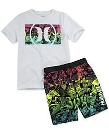 Hurley Big Boys Logo Box T-Shirt & Sticker-Print Board Shorts
