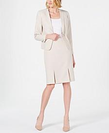 Seamed Pleated Skirt Suit