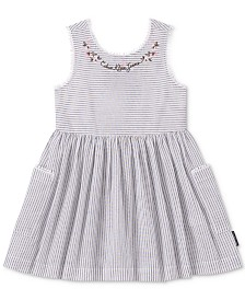 Calvin Klein Toddler Girls Open-Back Striped Cotton Dress