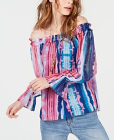 I.N.C. Tie-Dyed Off-The-Shoulder Top, Created for Macy's