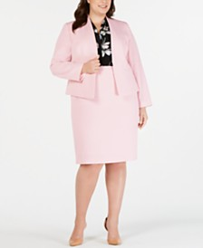 Nine West Plus Size Kiss-Front Blazer, Printed Top & Pencil Skirt