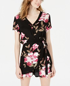 American Rag Juniors' Floral-Print Wrap Romper, Created for Macy's