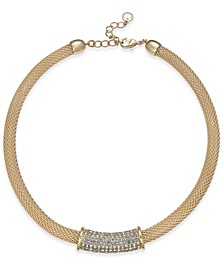 """Pavé Tunnel Mesh Collar Necklace, 17"""" + 2"""" extender, Created for Macy's"""