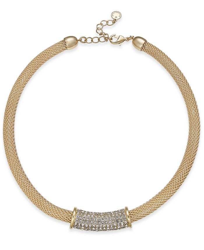 """Charter Club - Pavé Tunnel Mesh Collar Necklace, 17"""" + 2"""" extender"""