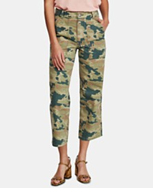 Free People Remy Camo Printed Capri Jeans