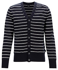 BOSS Men's Faraldi Regular-Fit Striped Cotton Cardigan
