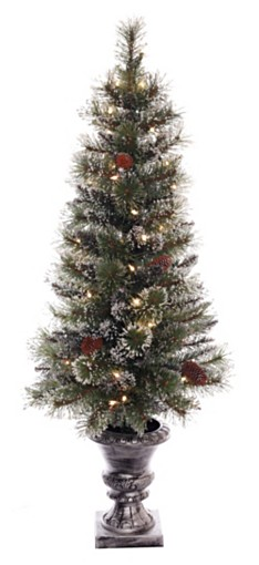 Puleo International 4 ft Pre-lit Glitter Premium Potted Artificial Christmas Tree 50 UL listed