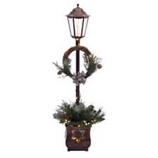 Puleo International Pre Lit 4 ft. Christmas Lamp Post with 35 Multi UL listed lights