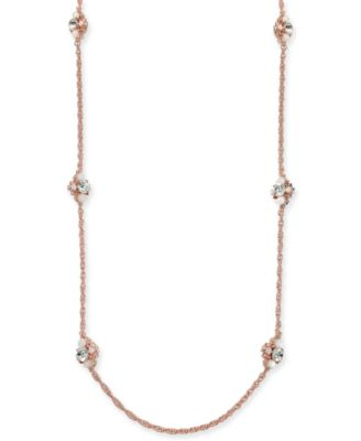 """Rose Gold-Tone Crystal & Stone Strand Necklace, 42"""" + 2"""" extender, Created for Macy's"""