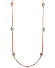 """Charter Club Rose Gold-Tone Crystal & Stone Strand Necklace, 42"""" + 2"""" extender, Created for Macy's"""
