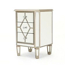 Soren Mirrored 3 Drawer Cabinet End Table, Quick Ship