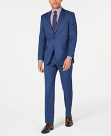 Tommy Hilfiger Men's Modern-Fit THFlex Stretch Medium Blue Glen Plaid Suit