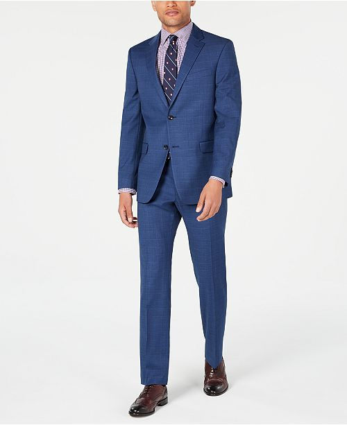 Tommy Hilfiger Men's Modern-Fit THFlex Stretch Medium Blue Glen Plaid Suit