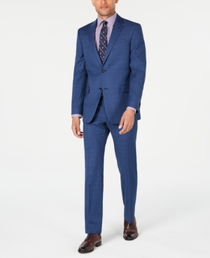 1920s Mens Suits   Gatsby, Gangster, Peaky Blinders Tommy Hilfiger Mens Modern-Fit THFlex Stretch Medium Blue Glen Plaid Suit $495.00 AT vintagedancer.com