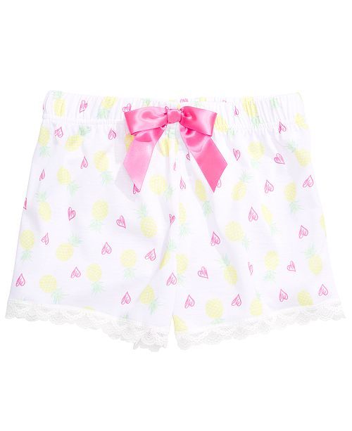 Max & Olivia Little & Big Girls Pineapple-Print Pajama Shorts, Created for Macy's