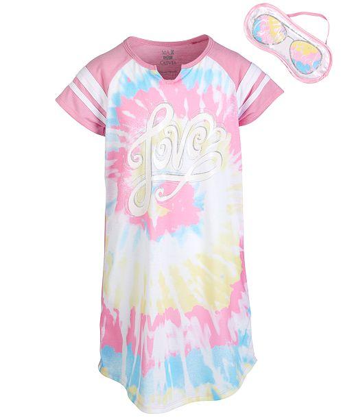 Max & Olivia Little & Big Girls Love-Print Nightgown & Eye Shade