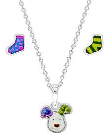 Snowman Pendant Necklace and Stocking Earring Set