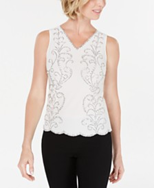28th & Park V-Neck Beaded Blouse, Created for Macy's