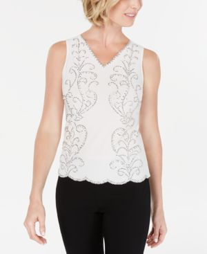Image of 28th & Park V-Neck Beaded Blouse, Created for Macy's