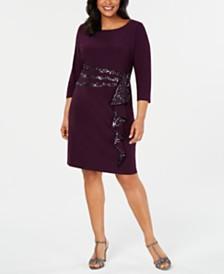 R & M Richards Plus Size Sequinned-Ruffle Sheath Dress