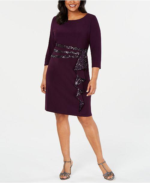 Plus Size Sequinned-Ruffle Sheath Dress