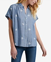 1a0024eb5b9 Lucky Brand Embroidered Button-Up Top