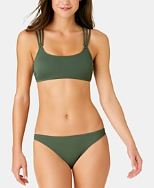 Juniors' Solid Ribbed Strappy Back Bralette Top, Available in D/DD & Solid Ribbed Hipster Bottoms, Created for Macy's