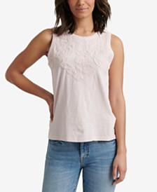 Lucky Brand Cotton Appliqué Tank Top