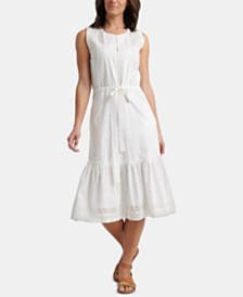Lucky Brand Sophia Cotton Tiered Eyelet-Detail Dress