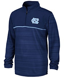 Big Boys North Carolina Tar Heels Striped Mesh Quarter-Zip Pullover