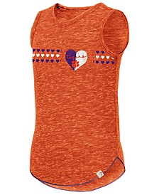 Colosseum Big Girls Clemson Tigers Distressed Heart Tank Top