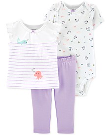 Carter's Baby Girls 3-Pc. Cotton Bodysuit, T-Shirt & Pants Set