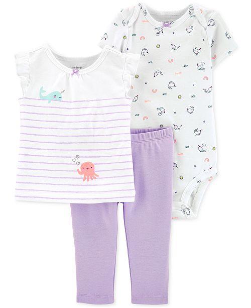 Carter's Baby Girls 3-Pc. Cotton Bodysuit, T-Shirt & Pants Set