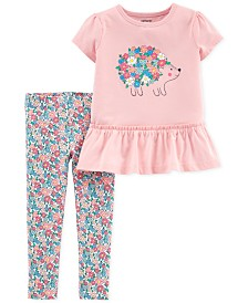Carter's Toddler Girls 2-Pc. Floral-Print Hedgehog Tunic & Leggings Set