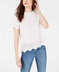 French Connection Lace-Hem Crepe Top