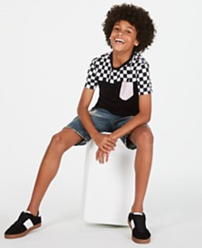 Epic Threads Big Boys Colorblocked Checker Pocket T-Shirt & Hamilton Denim Shorts, Created for Macy's