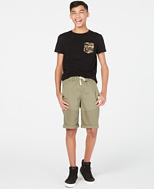 Epic Threads Big Boys Cams-Pocket T-Shirt & Stretch Twill Moto Shorts, Created for Macy's