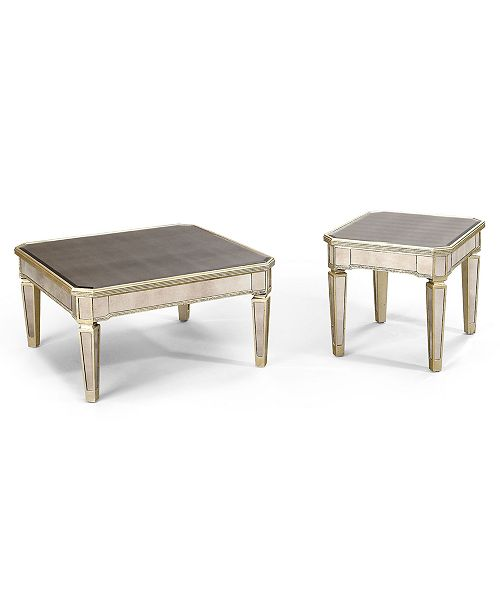 Furniture Closeout Marais Table Collection 2 Piece Set Mirrored