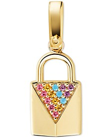 Gold-Tone Sterling Silver Multicolor Pavé Padlock Charm