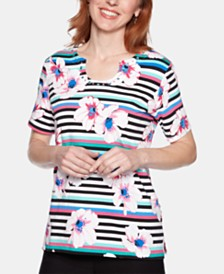 Alfred Dunner Petite Classic Mixed-Print Embellished Top