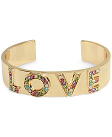 "BCBGeneration Gold-Tone Multicolor Pavé ""Love"" Cuff Bracelet"