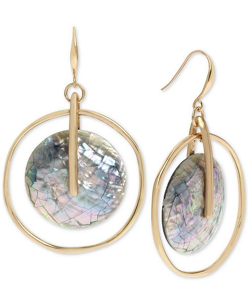 Robert Lee Morris Soho Gold-Tone Black Mother-of-Pearl Orbital Drop Earrings
