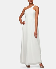 Alex Evenings One-Shoulder Empire-Waist Gown
