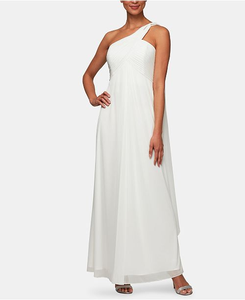 Alex Evenings One-Shoulder Empire-Waist Gown