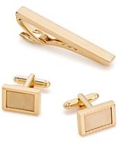bcd42531d88 Rogue Accessories Men s Gold-Tone Tie Bar   Cuff Links Set